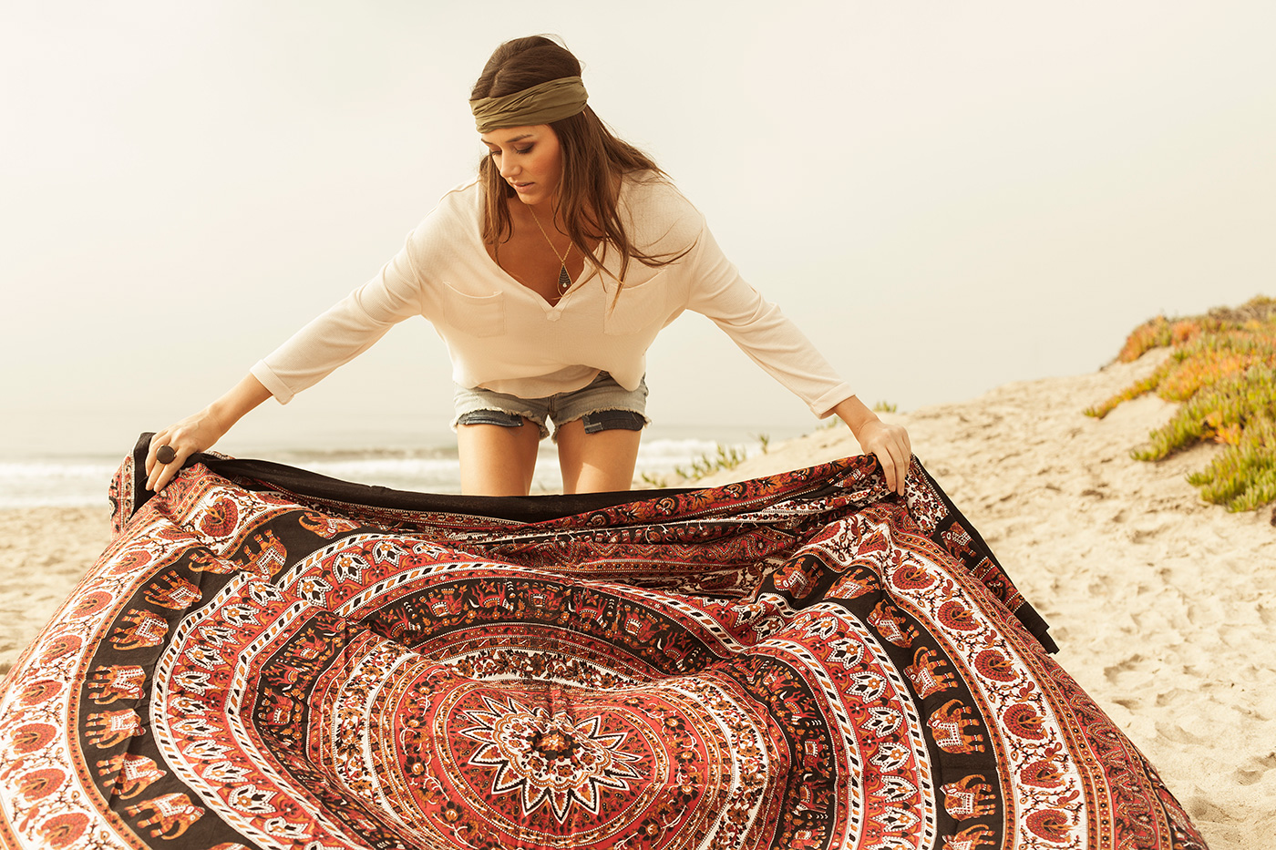 Lifestyle in Malibu for Colorfast Apparel.  Boho Blanket