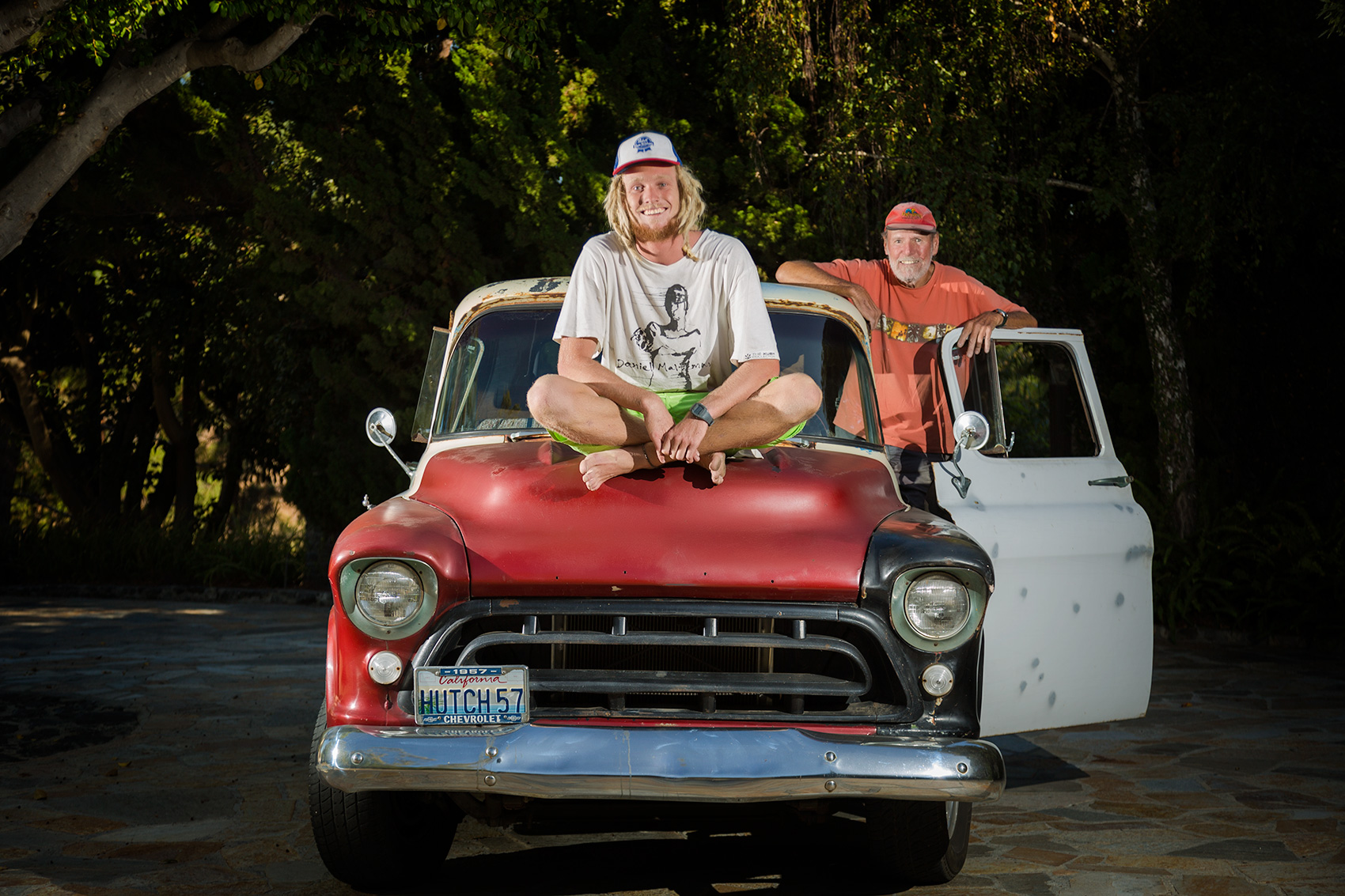 Malibu Father and Son with vintage truck
