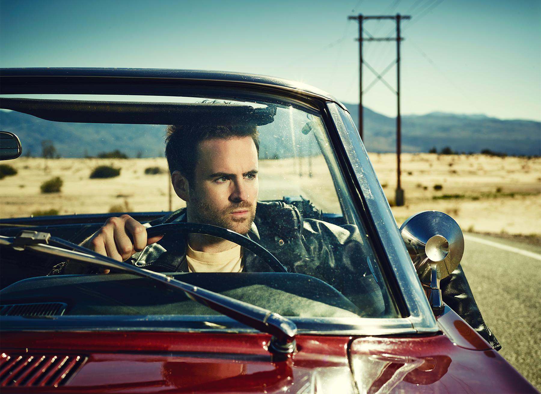 Gareth Emery Portrait on Route 66. Mustang 1966