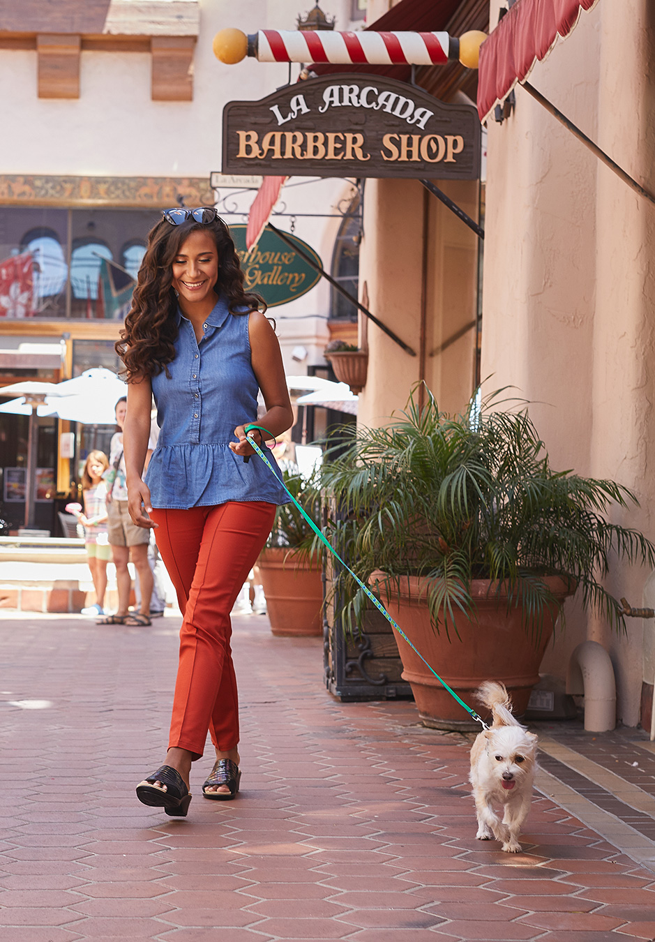 Lifestyle  Santa Barbara - Walking  her puppy with new Alegria Shoes