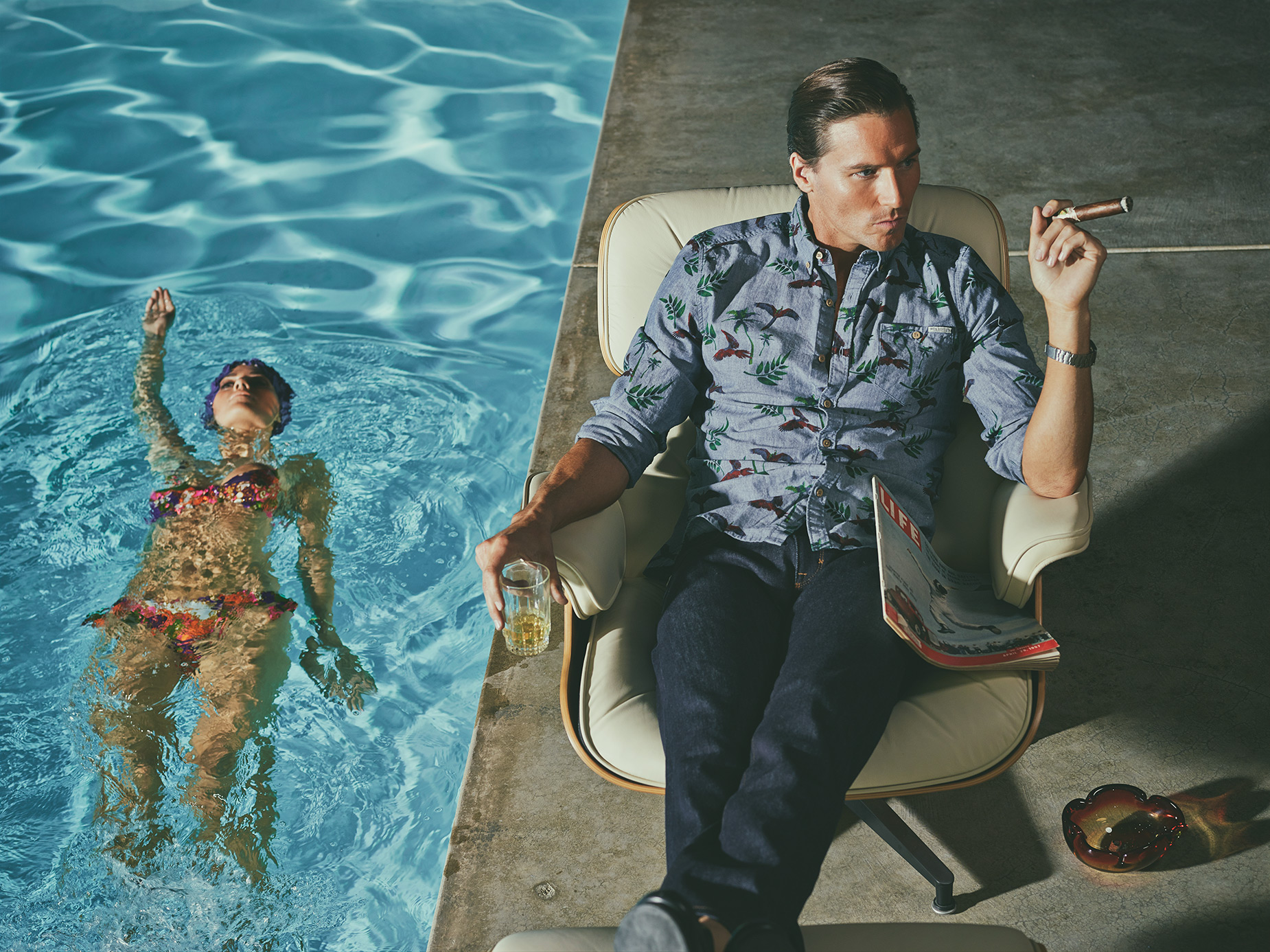 Stahl House Pool Shot, Fashion Editorial